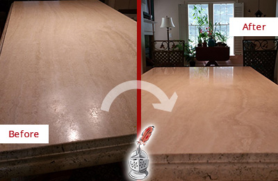 Before and After Picture of a Kitchen Marble Countertop Sealed for Extra Protection