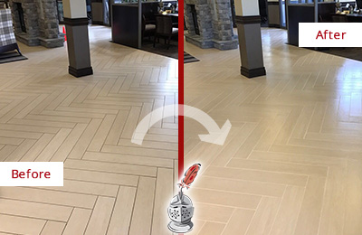 Before and After Picture of a Sahuarita Hard Surface Restoration Service on an Office Lobby Tile Floor to Remove Embedded Dirt