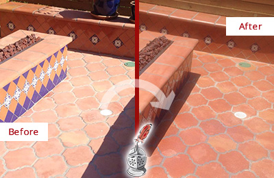 Before and After Picture of a Sahuarita Hard Surface Restoration Service on a Dull Terracotta Patio Floor to Recover Its Color