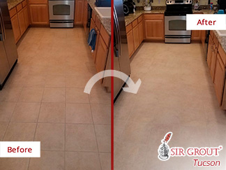 Before and After Picture of a Kitchen Floor Tile and Grout Cleaners in Tucson, Arizona
