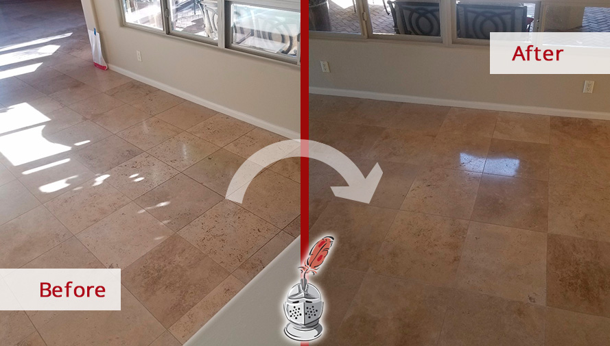 Before and After Picture of a Travertine Floor Stone Cleaning Service in Vail, AZ