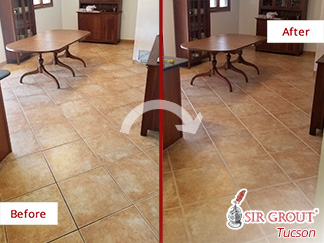 Before and After Picture of a Tile Kitchen Floor Grout Cleaning Service in Tucson, Arizona
