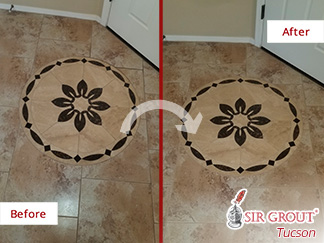 Before and After Picture of a Ceramic Tile Floor Grout Cleaning Service in Green Valley, Arizona