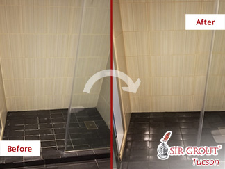 Before and after Picture of a Tile Cleaning Job in Tucson, AZ