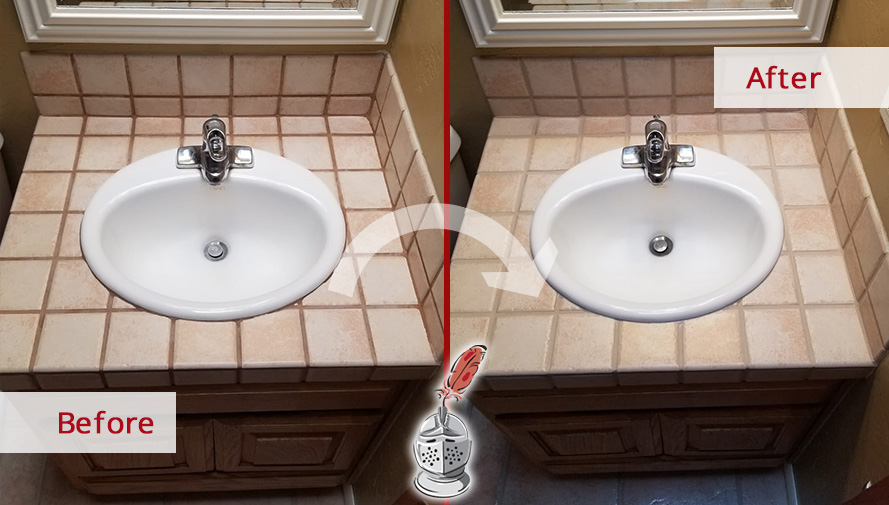 Before and after Picture of This Ceramic Countertop after a Grout Cleaning Job in Oro Valley, AZ
