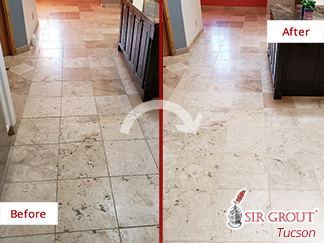 Before and After Picture of a Stone Cleaning Process in Catalina Foothills, AZ