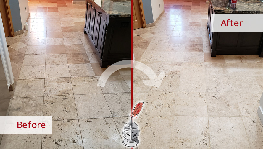 Picture of a Travertine Floor Before and After a Stone Cleaning Job in Catalina Foothills, AZ