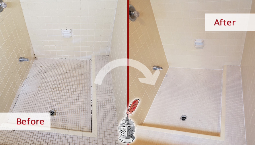 Before and After of this Shower Tile Cleaning in Oro Valley, AZ
