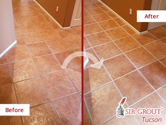 Before and After Picture of a Hallway Floor Grout Sealing Service in Tucson, AZ