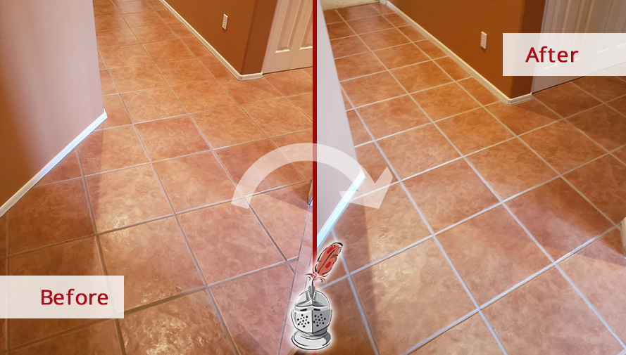 Hallway Floor Before and After a Grout Sealing Service in Tucson, AZ