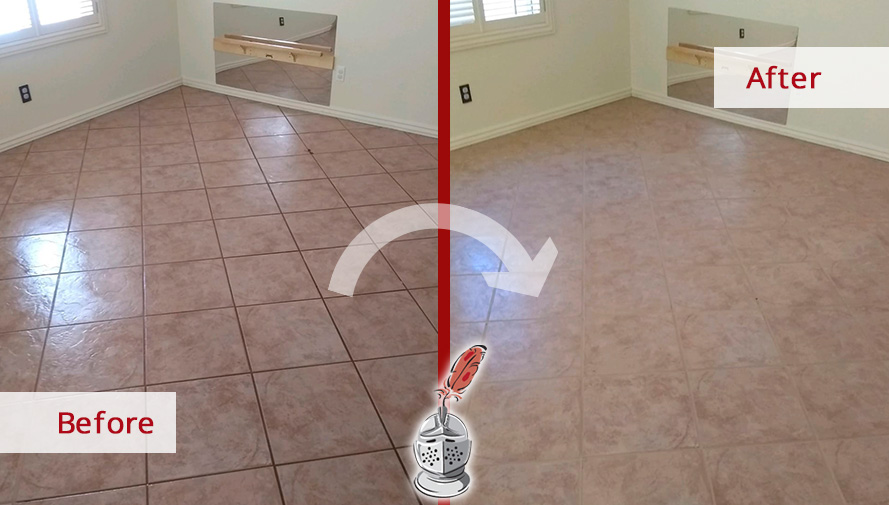 Before and After Picture of a Grout Cleaning Job Performed in Tucson, AZ.
