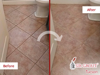 Before and After Picture of a Grout Cleaning Service in Tucson, AZ.