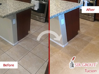Before and After Picture of a Ceramic Floor in Marana, AZ After a Tile Sealing Service