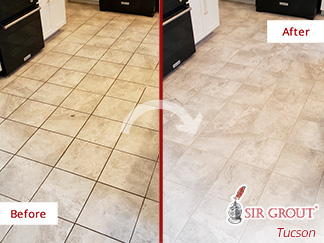 Picture of a Floor Before and After a Tile Sealing Service in Marana, AZ