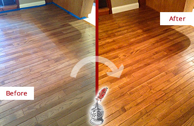 Before and After Picture of a Oro Valley Wood Sand Free Refinishing Service on a Dull Floor to Recover Its Sheen