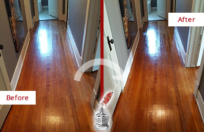 Before and After Picture of a Oro Valley Wood Sand Free Refinishing Service on a Floor to Eliminate Scratches