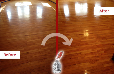 Before and After Picture of a Tucson Wood Sand Free Refinishing Service on a Room Floor to Remove Scratches
