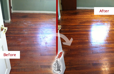 Before and After Picture of a Oro Valley Wood Sand Free Refinishing Service on a Dull Floor to Remove Stains