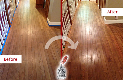 Before and After Picture of a Oro Valley Wood Sand Free Refinishing Service on a Worn Out Floor