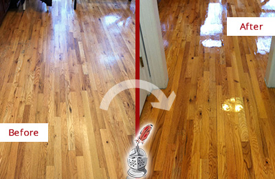 Before and After Picture of a Oro Valley Wood Sand Free Refinishing Service on a Worn Out Hallway