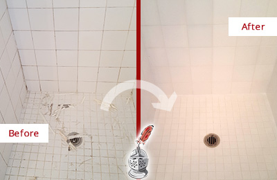 Before and After Picture of Bathroom Caulking on a Shower
