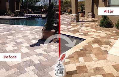 Picture of a Worn-Out Travertine Pool Deck Before and After Color Enhancement Service