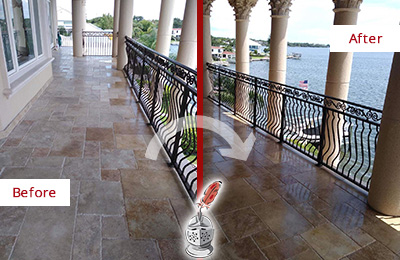 Picture of a Hotel Balcony Before and After Color Enhancement and Restoration