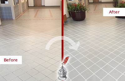 Picture of an Office Lobby Tile Floor Before and After a Grout Repair