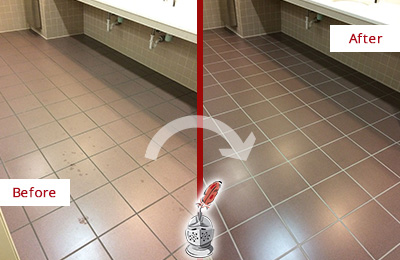 Picture of a Call Center Restrooms Floor Before and After Restoration, Cleaning and Sealing
