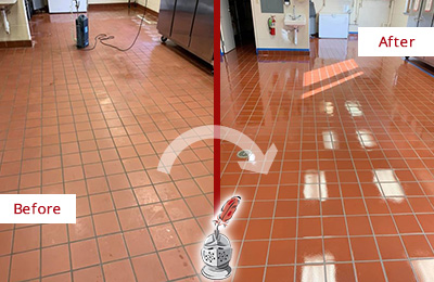 Before and After Picture of a Restaurant Quarry Tile Floor