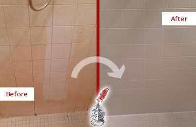 Before and After Picture of a Tile Shower with Dirty Walls and Grout