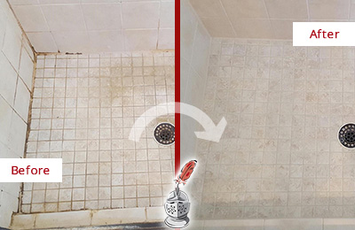 Before and After Picture of a Oro Valley Shower Caulked to Fix Cracks