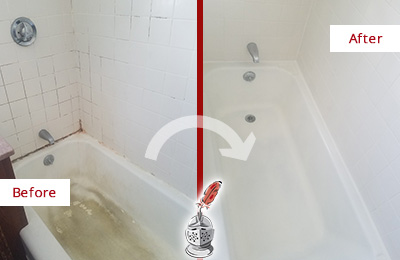 Before and After Picture of a Oro Valley Bathtub Caulked to Repair Cracks