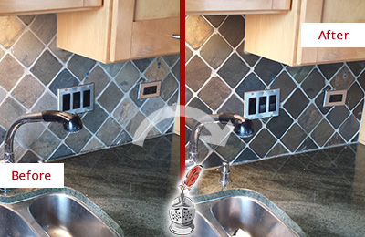 Before and After Picture of a Tucson Backsplash Caulked to Fix and Prevent Water Leaks