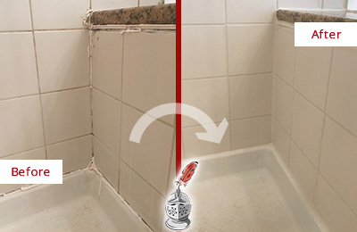 Before and After Picture of a Tucson Shower Caulked to Repair Damaged Caulking