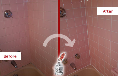 Before and After Picture of a Tucson Bathtub Caulked to Eliminate Mold