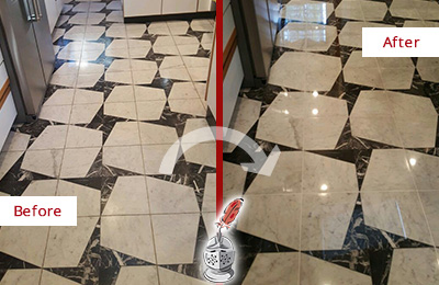 Before and After Picture of a Dull Tanque Verde Marble Stone Floor Polished To Recover Its Luster