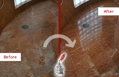 Before and After Picture of a Tanque Verde Marble Stone Shower Polished to Eliminate Mineral Deposits