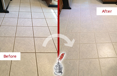 Before and After Picture of a Casas Adobe Kitchen Ceramic Floor Sealed to Protect From Dirt and Spills