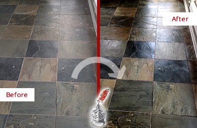 Before and After Picture of a Dull Casas Adobe Slate Floor Sealed to Bring Back Its Colors