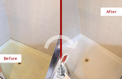 Before and After Picture of a Casas Adobe Shower Sealed to Remove and Protect Against Mold