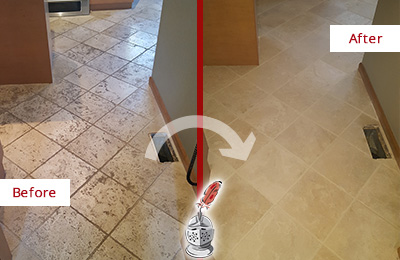 Before and After Picture of a Casas Adobe Kitchen Marble Floor Cleaned to Remove Embedded Dirt