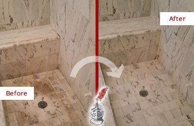 Before and After Picture of a Dirty Casas Adobe Marble Shower Cleaned to Eliminate Dark Stains