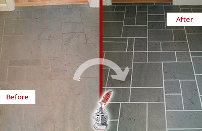 Before and After Picture of a Casas Adobe Slate Floor Cleaned to Remove Deep-Seated Dirt