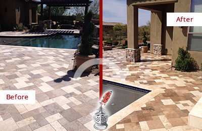 Before and After Picture of a Dull Tucson Travertine Pool Deck Cleaned to Recover Its Original Colors