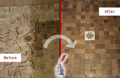 Before and After Picture of a Stained Casas Adobe Marble Shower Floor Cleaned to Remove Etching
