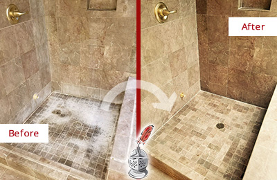 Before and After Picture of a Tucson Travertine Shower Cleaned to Eliminate Water Spots