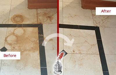 Before and After Picture of a Casas Adobe Marble Floor Cleaned to Eliminate Rust Stains
