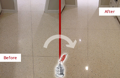 Before and After Picture of a Vail Granite Floor Sealed for Stone Protection