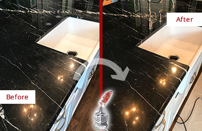 Before and After Picture of a Vail Marble Kitchen Countertop Stone Sealed to Avoid Water Damage